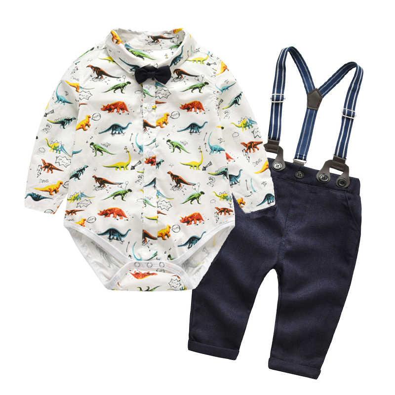 423e179b0 Long Sleeve Baby Boys Suit Set Newborn Clothes Sets Kids Dinosaur Romper +  Navy Pants Autumn