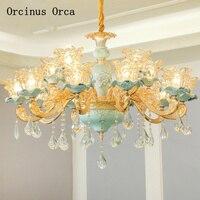 Europäischen luxus blume carving keramik kronleuchter wohnzimmer esszimmer schlafzimmer Französisch kreative farbe LED Kristall Kronleuchter