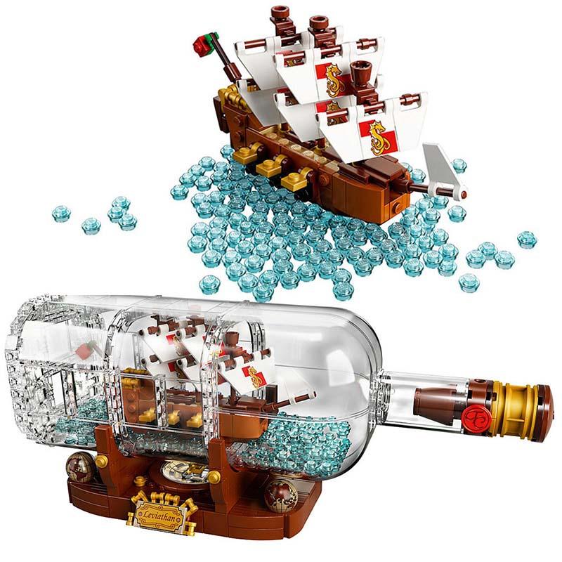 1078PcsTechnic Idea Caribbean Ship Boat In A Bottle Compatible Legoing 21313 Building Blocks Bricks Toys  11050 Children gift1078PcsTechnic Idea Caribbean Ship Boat In A Bottle Compatible Legoing 21313 Building Blocks Bricks Toys  11050 Children gift