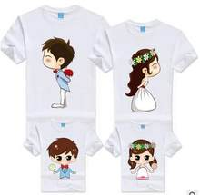 Korean Children Clothing Cartoon Bride Bridegroom Funny T shirts Family Matching Outfits Mother Daughter Father Son Tee Clothes(China)
