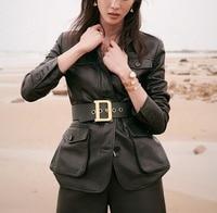 New Design Spring Slim Fit Lambskin Jacket Ladies Fashion Metal Snaps Jacket Black Women Elegant Real Leather Jacket With Belt