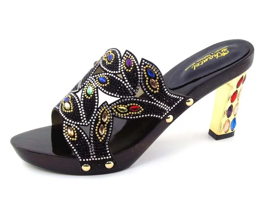 New Italian Rhinestone Decorated Ladies Pumps Shoes Africa Fashion High Heels Shoes Size 37 43 Free