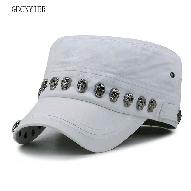 3f88b65f8ed GBCNYIER Skull Hip Hop Flat Top Army Hat Fashion Cool Male And Female  Military Hats Hiphop Dance Show Cool Cap Personality Visor