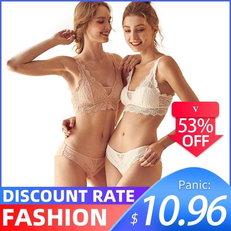 CINOON Fashion Sexy   Bra     set   Women's push up Lace Underwear Panties Thin breathable   bra     set   Jacquard Sexy Underwear Free Shipping