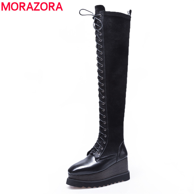 MORAZORA 2018 New arrival genuine leather thigh high boots women wedges lace up platform boots fashion sexy over the knee boots jialuowei women sexy fashion shoes lace up knee high thin high heel platform thigh high boots pointed stiletto zip leather boots