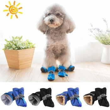 4pcs/set Pet Dog Shoes Puppy Winter Waterproof Anti-slip Rain Snow Boots Footwear Thick Warm For Small Cats Dogs Socks Booties