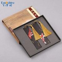 Mahogany Relevo Pintado Marcadores Conjunto De Madeira Clássica do Estilo Chinês Arte Criativa Presentes Lettering Personalizado Bookmarks M078
