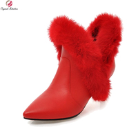 Original Intention Fashion Women Ankle Boots Fur Pointed Toe Thin Heels Boots Elegant Black White Red Shoes Woman US Size 3 10.5