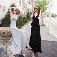 цены Summer V-neck Casual Long Dress Women Elegant Sleeveless Maxi Dress Wine Red