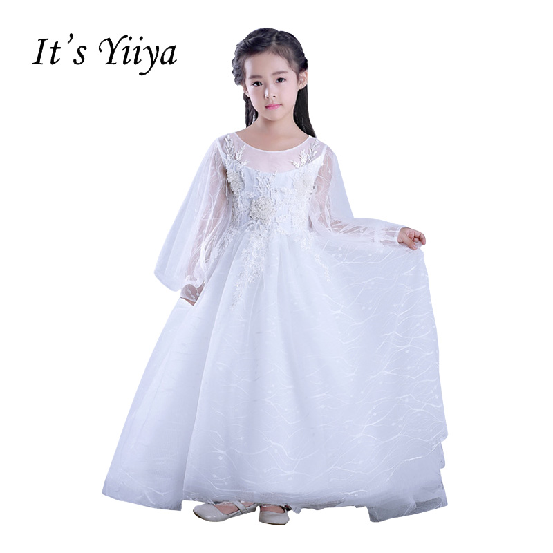 It's YiiYa Long Sleeves White Chiffon Zipper Illusion Train Appliques   Flowers   Kids Princess   Flower     Girls     Dress   Communion TS219