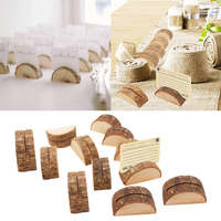 120pcs Rustic Wood Base Holder Table Name Card Holder Note Photo Message Clip