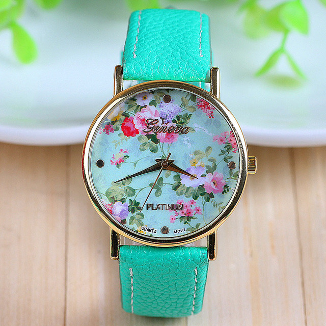 women mint green for geneva watch ladies dress new watches lot quartz leather colors fashion shop