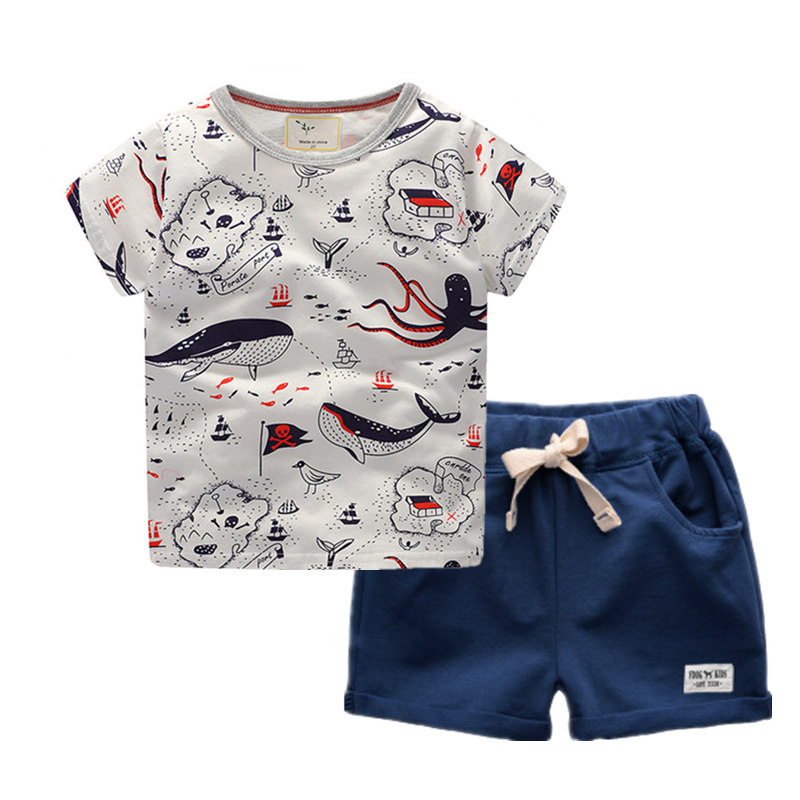 Toddler Boys Summer Clothes Cartoon Summer Suits For Boy Print School Baby Childrens Sports Suits Casual Kids Boys Sets 2018