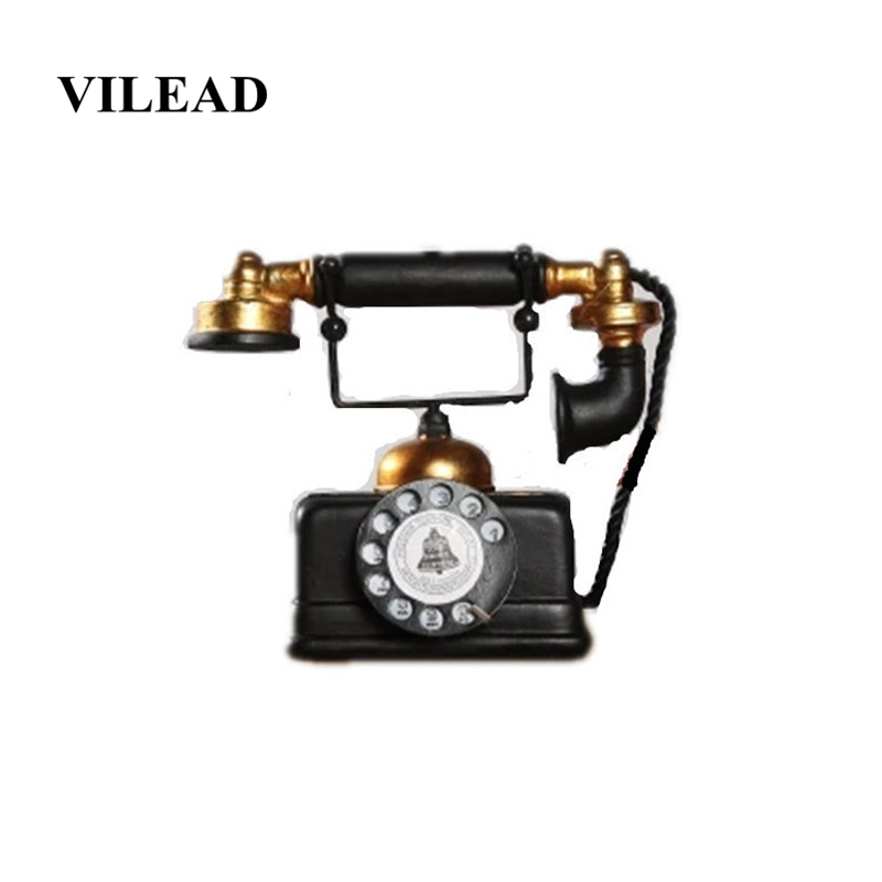 VILEAD 17cm Resin American Industrial Style Telephone Figurine Retro Model Living Room Study Simulation Crafts Decoracion Hogar in Figurines Miniatures from Home Garden