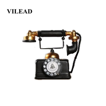 VILEAD 17cm Resin American Industrial Style Telephone Figurine Retro Model Living Room Study Simulation Crafts Decoracion Hogar