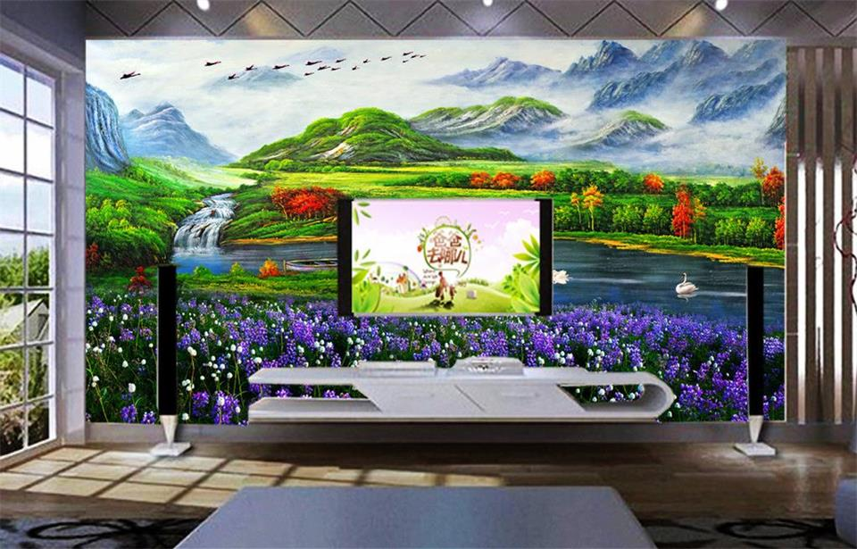 Custom 3d photo wallpaper room mural River flowers spring landscape HD painting sofa TV background non-woven HD photo wallpaper
