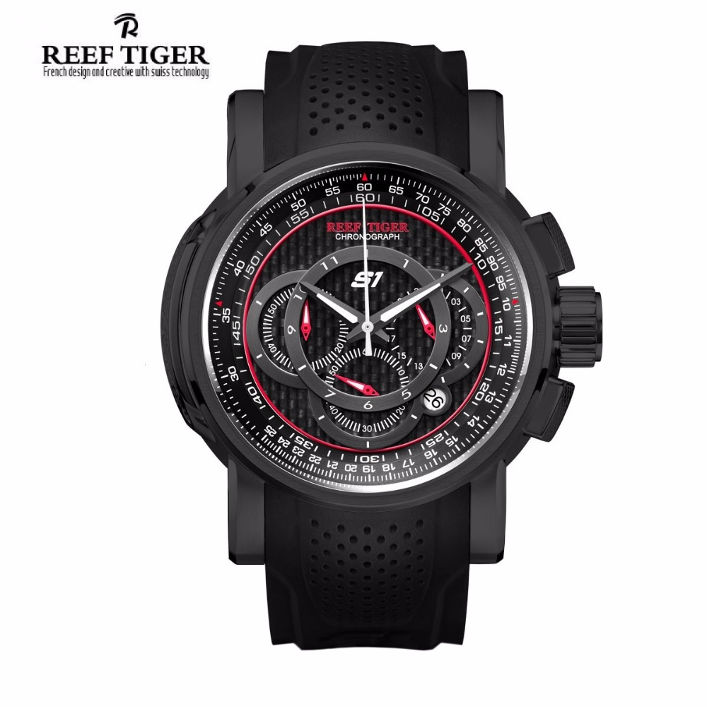 Reef Tiger Luxury Brand Outdoor Sport Quartz Watch Fashion Chronograph Rubber Strap Waterproof Watches Men Relogio Masculino reef tiger brand men s luxury swiss sport watches silicone quartz super grand chronograph super bright watch relogio masculino