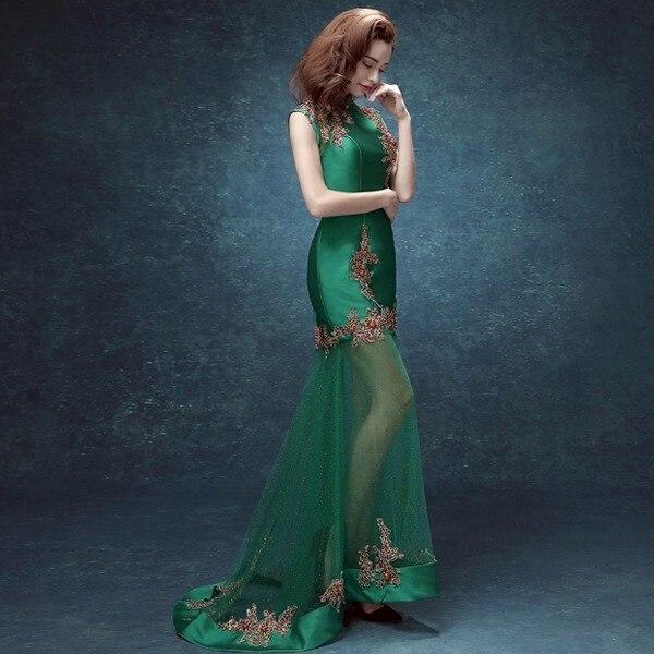 femmes vert dentelle dos chinois collier chinois cheongsam moderne - Vêtements nationaux - Photo 2