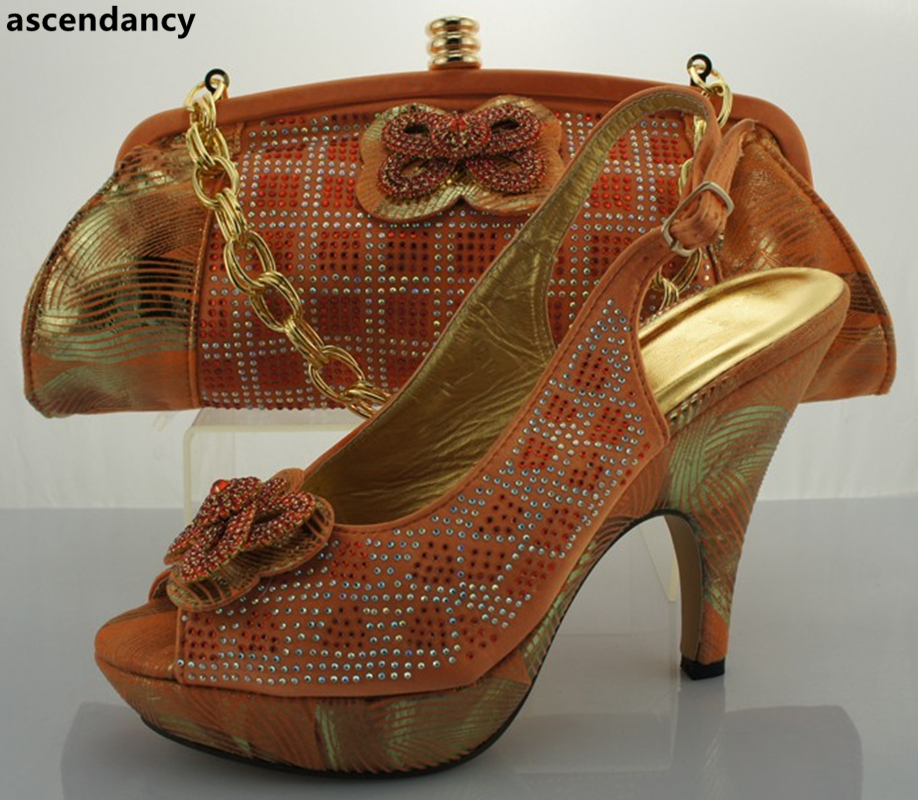 Y Azul Nigerianas Bombas Zapatos Rhinestone fuchsia Mujer De Italianas Las Italia naranja Bolsa Mujeres Partido Boda Africanas En wxZ8qCAFx