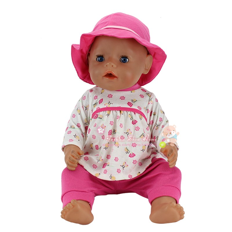 1Set Meired Beautiful Clothes+hat Wear fit 43cm Baby Born zapf,  Children best  Birthday Gift(only sell clothesCowboy red hat t shirt rompers doll clothes wear fit 18 inch american girl 43cm baby born zapf children best birthday gift n289