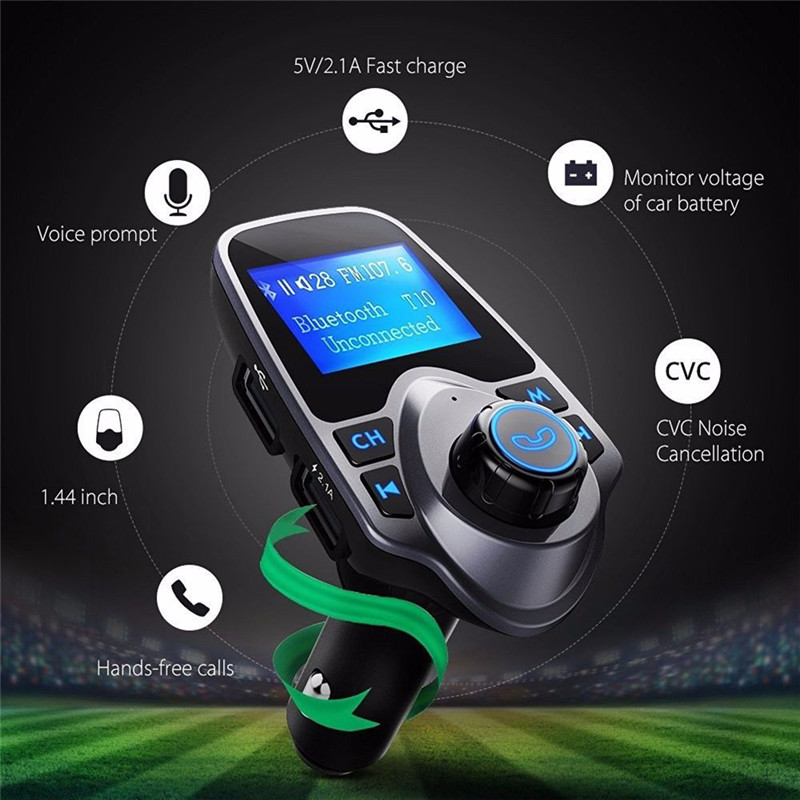 Brand New Bluetooth Car FM Transmitter Modulator Car mp3 Player Wireless Handsfree Music Audio with interface Dual USB Charger