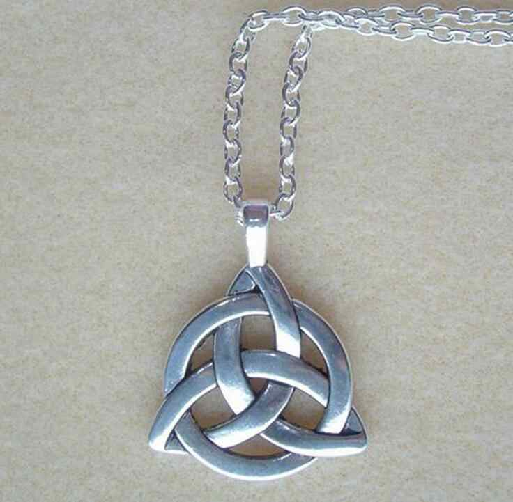 Triquetra Trinity Knot Chain Necklace Jewelry DIY 60cm Long Necklace fashion Pagan Protection Spiritual Necklaces DIY Gift