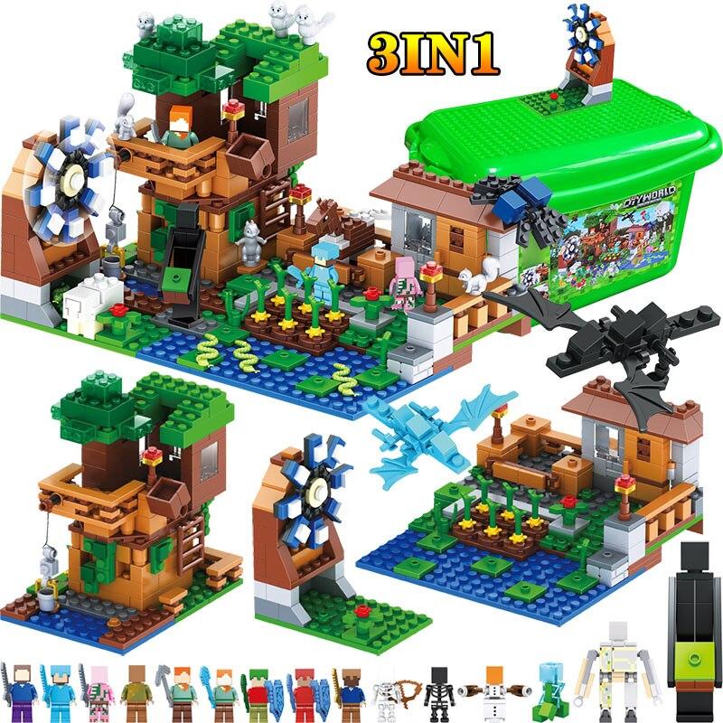 3 DANS 1 Mon Monde Série De Luxe Arbre Maison Compatible LegoINGLY Minecraft Village Ferme Blocs de Construction Moulin À Vent Brique Enfants Jouet