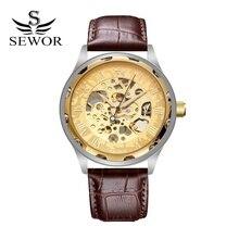 SEWOR Marca Reloj de Cuero de Lujo de la Mano Mecánico automático de Los Hombres Reloj de Pulsera Esqueleto Vestido de Los Hombres de Moda Del Negocio Del Deporte del Reloj