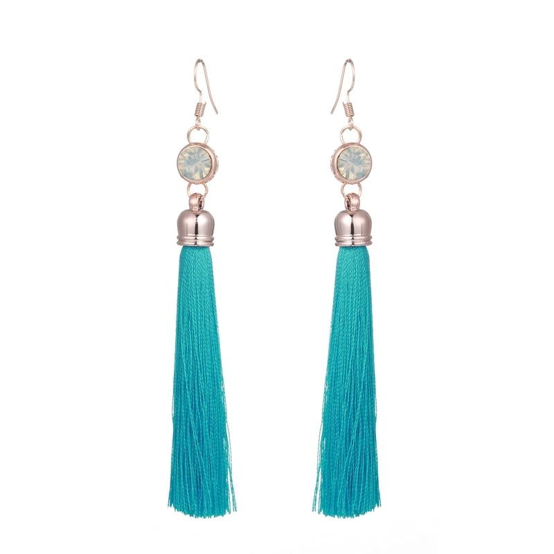 LOVBEAFAS Ethnic Fringe Tassel Long Drop Earrings Women Boho Crystal Boucles Brinco Dangle Earings Fashion Jewelry Bijoux Femme