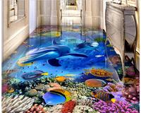 3d pvc flooring custom mural Self adhesive waterproof floor dolphins and sea painting picture photo wallpaper for walls 3d