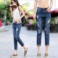 {Guoran} verano de Las Nuevas Mujeres Jeans Denim Plus tamaño novio Flojo azul Washed Ripped Jeans Pant Moda Hip Hop Pantalones Vaqueros Del Agujero femenino