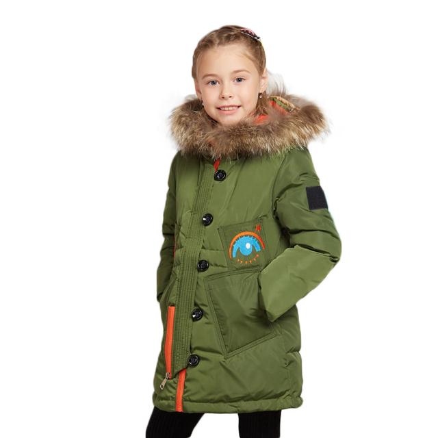 Buenos Ninos Menina Para Baixo Crianças Jaqueta de Inverno Com Capuz casacos Grossos Longo Menina Casaco Quente Dos Desenhos Animados Crianças Cinzento Verde Outerwear