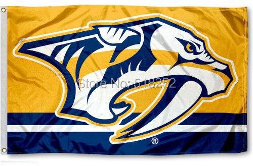 Nashville Predators column Flag Polyester 150X90CM NHL 3x5FT Banner 100D Custom flag grommets 6038,free shipping