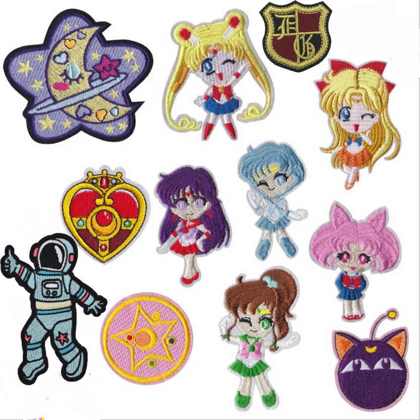 Sailor Moon Indah Kartun Bordir Besi Pada Patch Lucu Bordiran Kartun Anak-anak Jaket Jean Ransel Jaket Pakaian Diy Patch