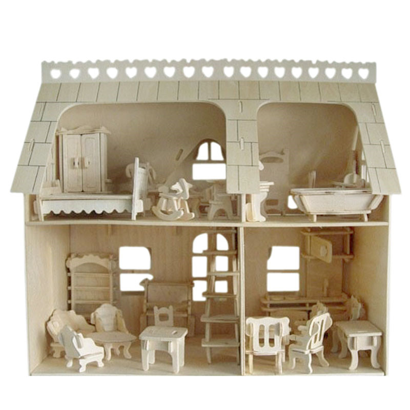 DIY Jigsaw Puzzles 3D wooden puzzle dollhouse doll house with furniture toy sets bed chair Educational toys for children gifts 2