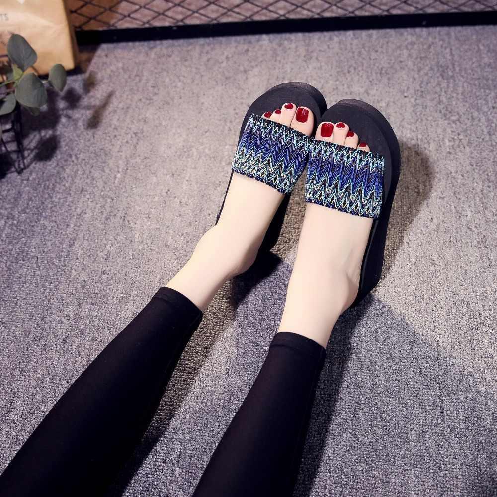 Fashion leopard grain thick soles women slipper Aztec style wedges beach lady Sanders 2019 new woman shoes