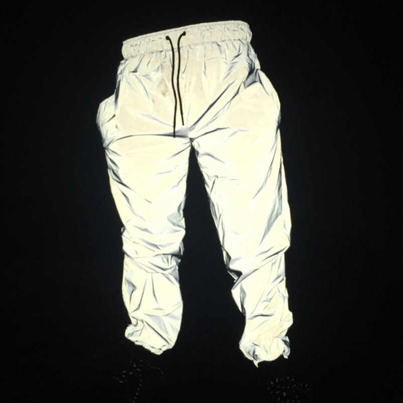 Reflective Pants Men 2019 Jordan Pants Brand Hip Hop Dance Fluorescent Trousers Casual Harajuku Night Sporting Jogger Pants Gray