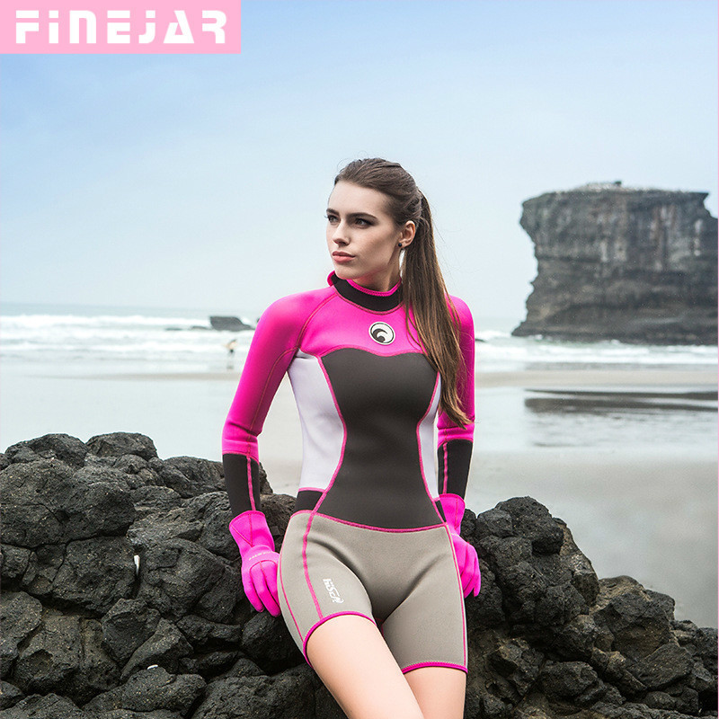 588a5b9d54 Hisea 1.5mm women neoprene wetsuit Elastic colour Surf Diving Equipment  suit clothing long-sleeved Tight Warm surfing h2
