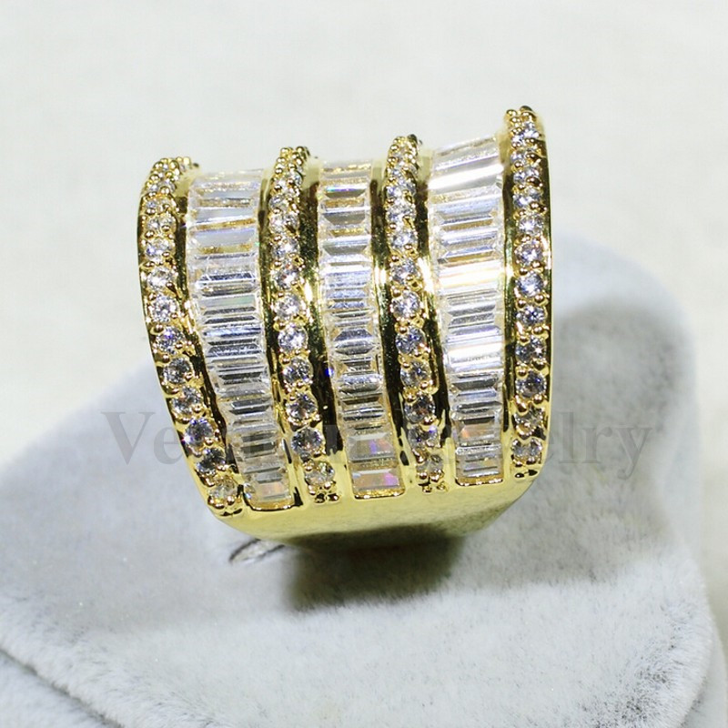 Vecalon luxe femmes bague en or jaune rempli AAAAA Zircon Cz 925 en argent Sterling gros bijoux de fiançailles bague de mariage - 3