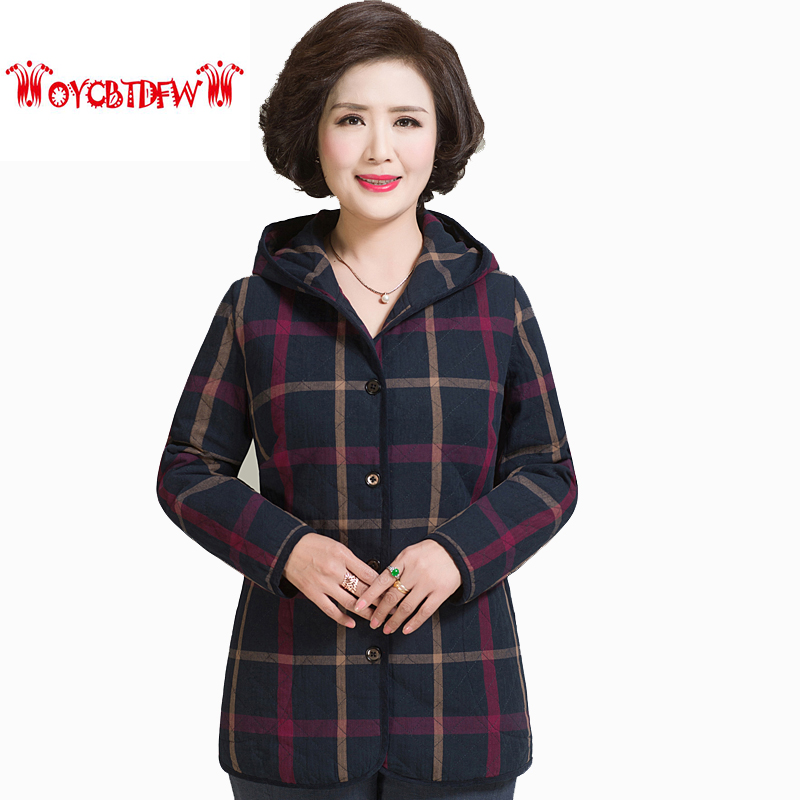 Winter women cotton coat 2017 fashion new plus size Single Breasted Long sleeves Thickening Plaid Hooded warm women parkas LL221 free shipping boruoss 2015 new fashion winter cotton coat women short single breasted coat boruoss w1292