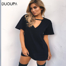 DUOUPA Women  Dress 2019 Choker V-neck Summer Dresses Short Sleeve Casual Sexy Halter Loose Boho Beach Vestidos Plus