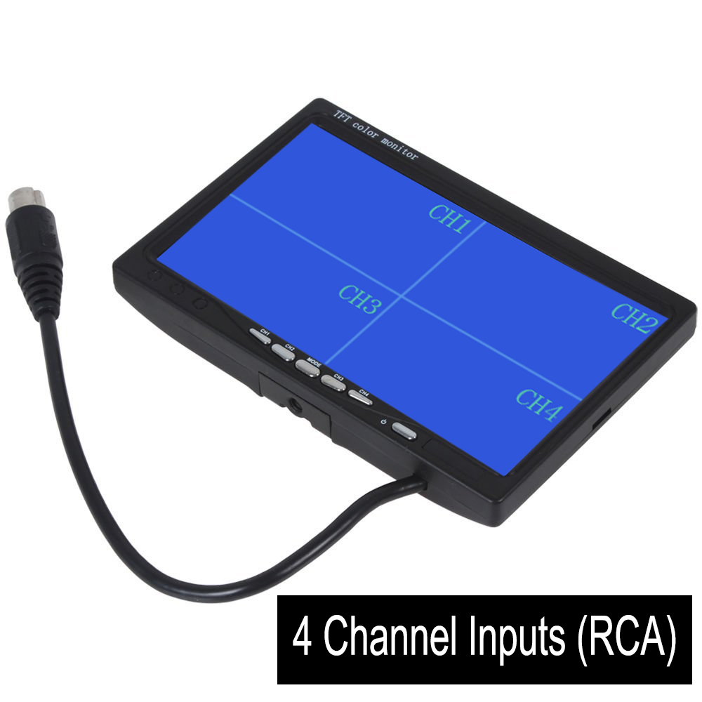 7 TFT LCD Car Rearview Quad Split Monitor Remote Control 4 Channels RCA Video Inputs - 12V-24V 800*480HD Screen w/ Sunshade A