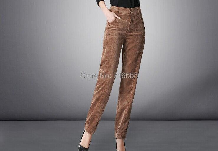 Осень весна зима вельветовые повседневные женские брюки с высокой талией длинные женские брюки больших размеров gbs0401