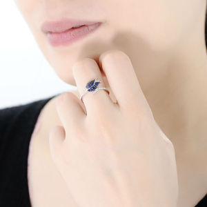 Image 5 - SANTUZZA Silver Ring For Women 925 Sterling Silver Full Of Love tulip Flower Ring Blue Nano Cubic Zirconia Ring Fashion Jewelry