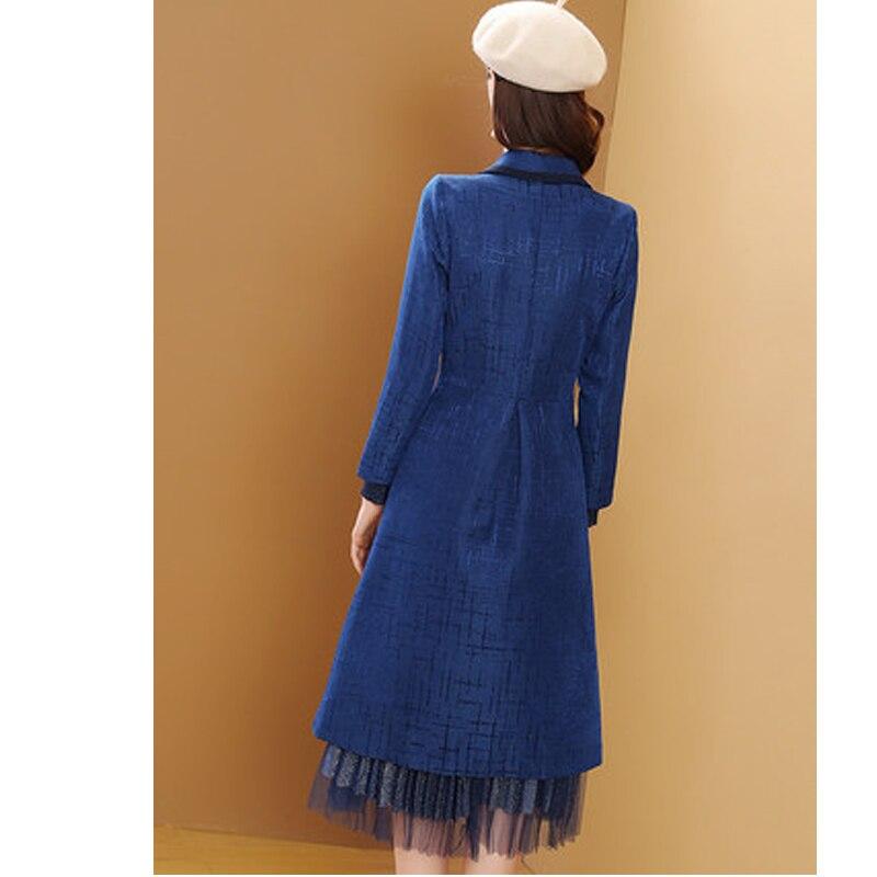 Blue Mode Femmes Trench 2019 Breasted Bleu Mujer Longs Coupe vent Manteau Nouvelle Femme Manteaux coat Brésil Abrigos Lx43 Double Mince wxnqR1HA