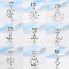 New Original Sliver Plated Alloy Bead Elf Bicycle Lucky Clover Heart Music Charm Fit Pandora Bracelet Necklace DIY Women Jewelry(China)