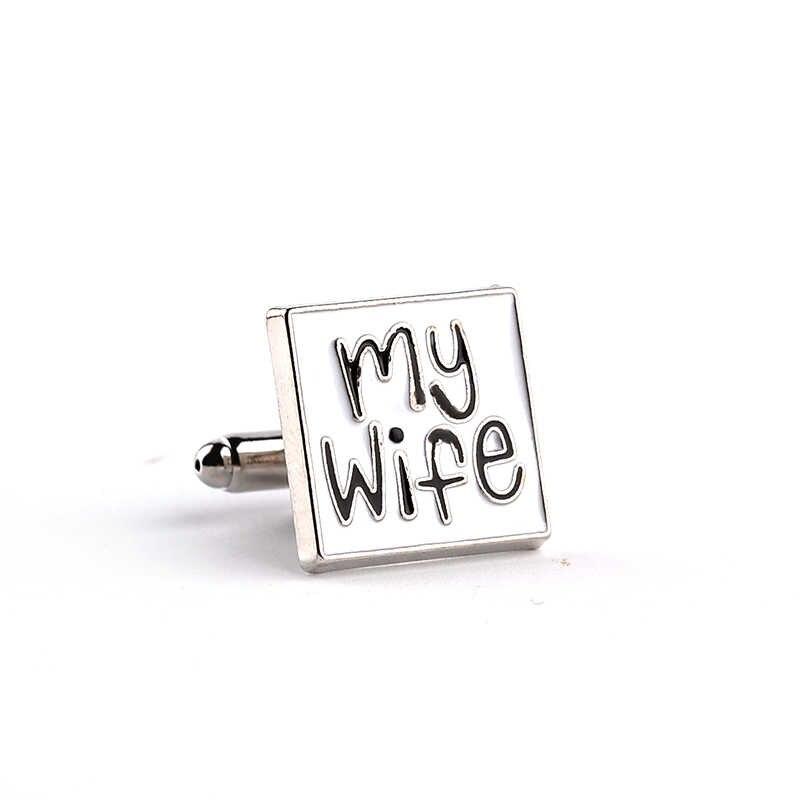 I Love My Wife Gemelli di cerimonia nuziale di Disegno Del Polsino Link Uomo Francese Dello Smalto Della Camicia Bottoni dichiarazione romantica Gemelli per lo sposo