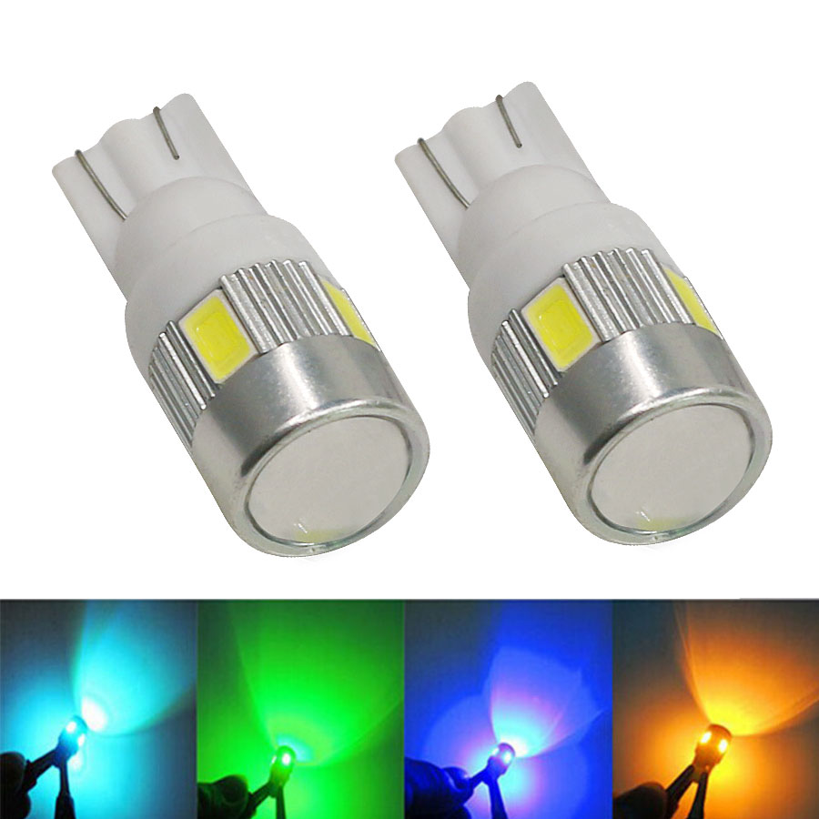 4PC T10 Auto Car Bulb 5730 SMD 6 LED W5W 12V Interior Parking Projector Lens Clearance lights Reading Lamps Blue Red White Amber