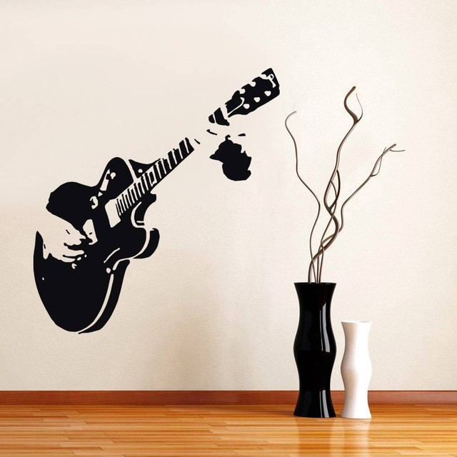 Guitar Guitarist Music Wall Stickers Decor Mural Art Decals Home Decal Free Shipping In Wall