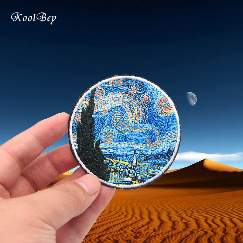 100pcs lot Van Gogh Painting The Starry Night Embroidery Iron On Patches For Clothes DIY Accessory